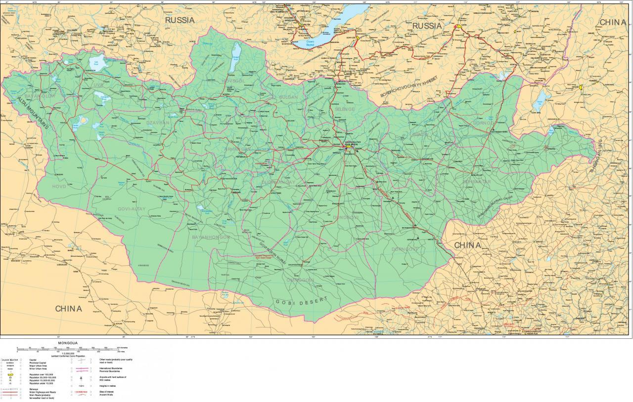 خريطة منغوليا التفصيلية