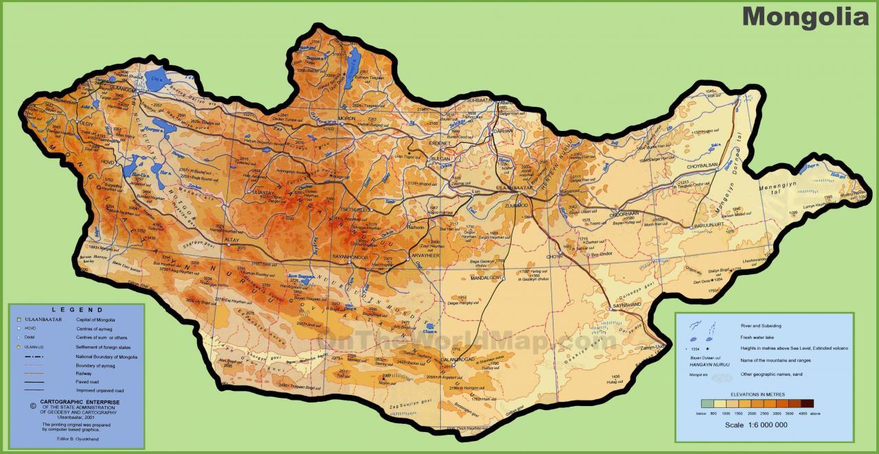 خريطة منغوليا الطبيعية