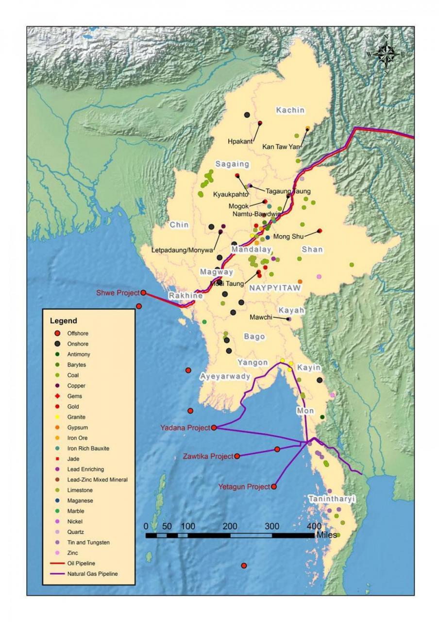 خريطة موارد ميانمار الطبيعية
