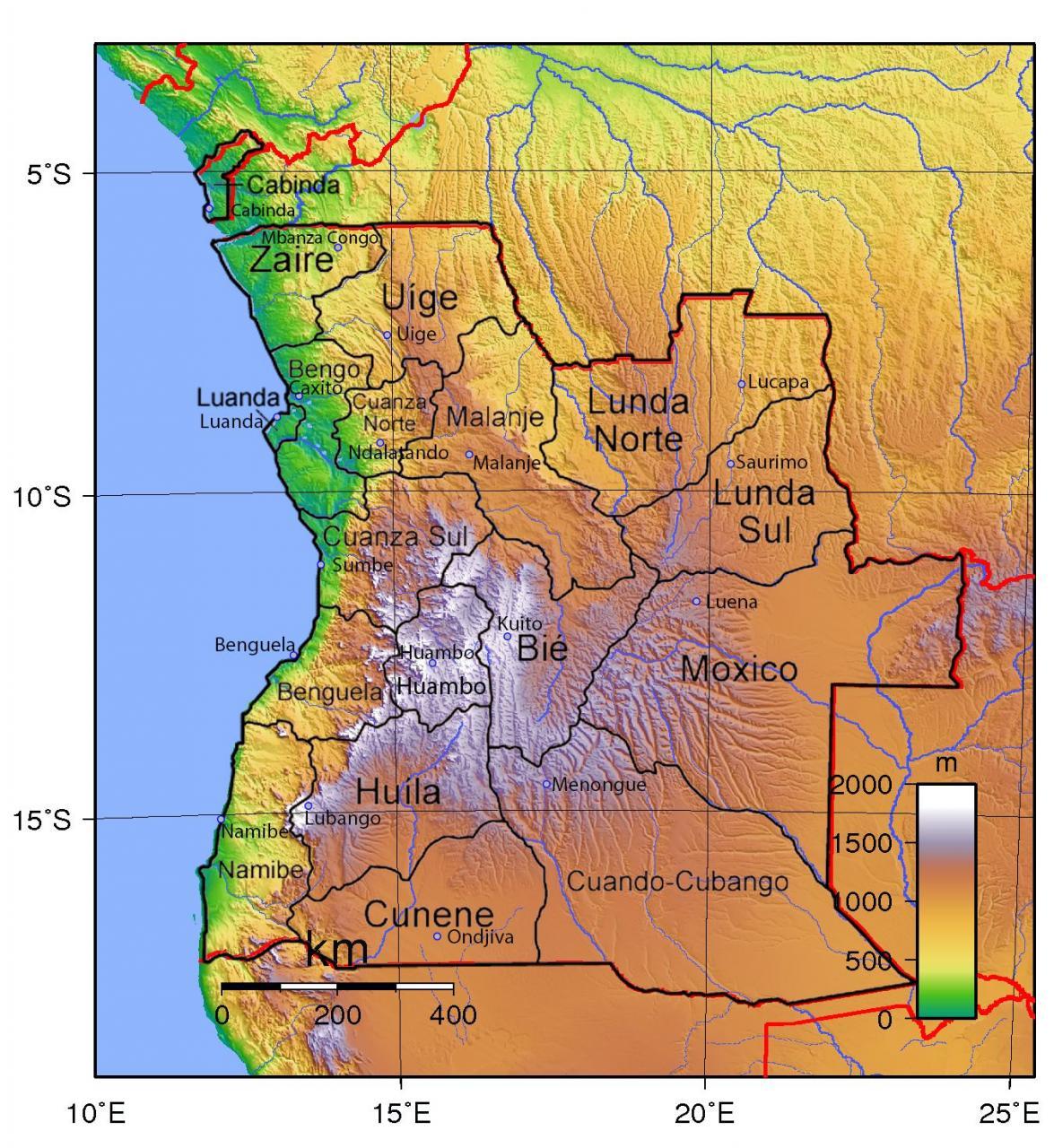 خريطة أنغولا الطبيعية