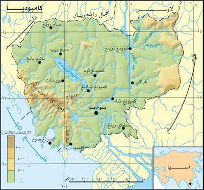 خريطة كمبوديا الجُغرافية