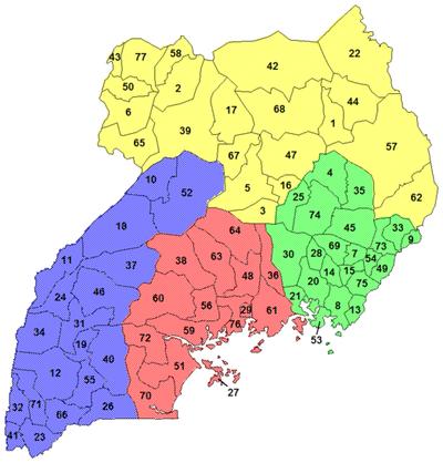 خريطة أوغندا الإدارية