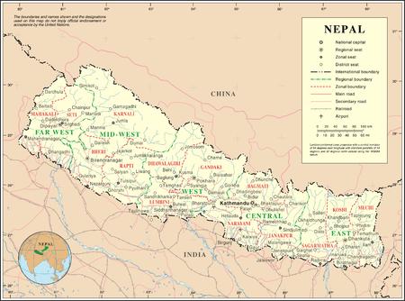 خريطة نيبال التفصيلية