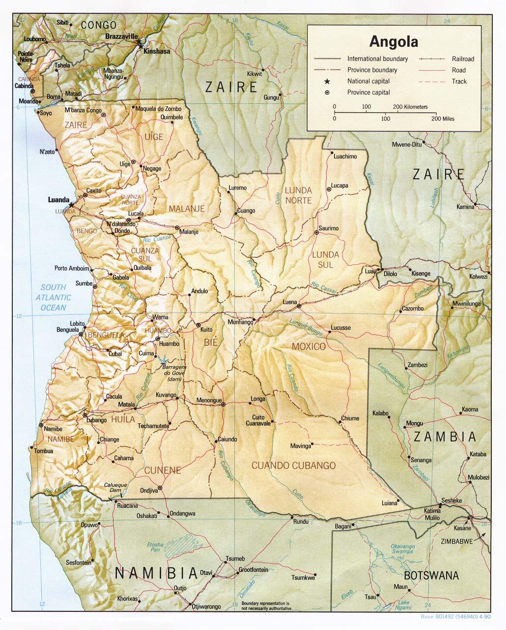 خريطة أنغولا الجُغرافية