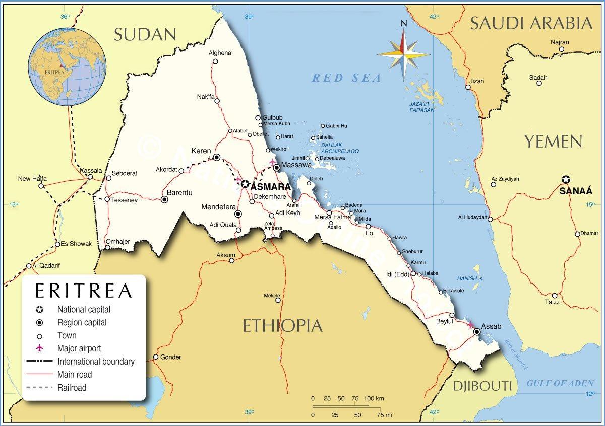 خريطة إريتريا الرئيسية