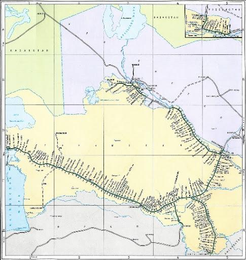 خريطة تركمانستان السكك الحديدية