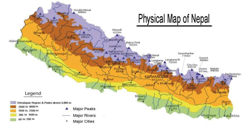 خريطة نيبال الجُغرافية