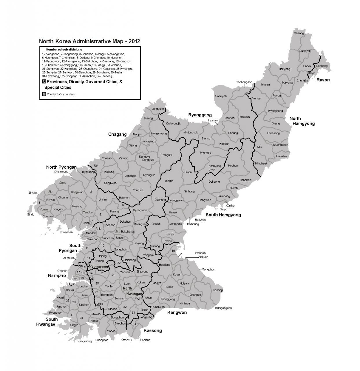 خريطة كوريا الشمالية الإدارية