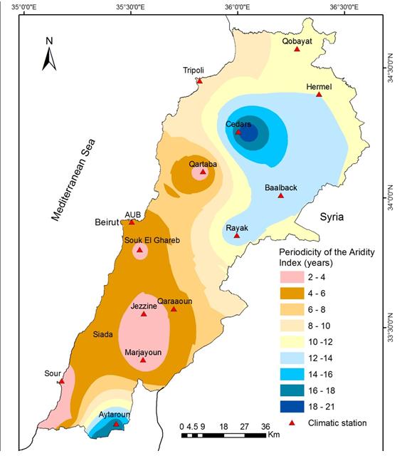 خريطة لبنان المُناخية