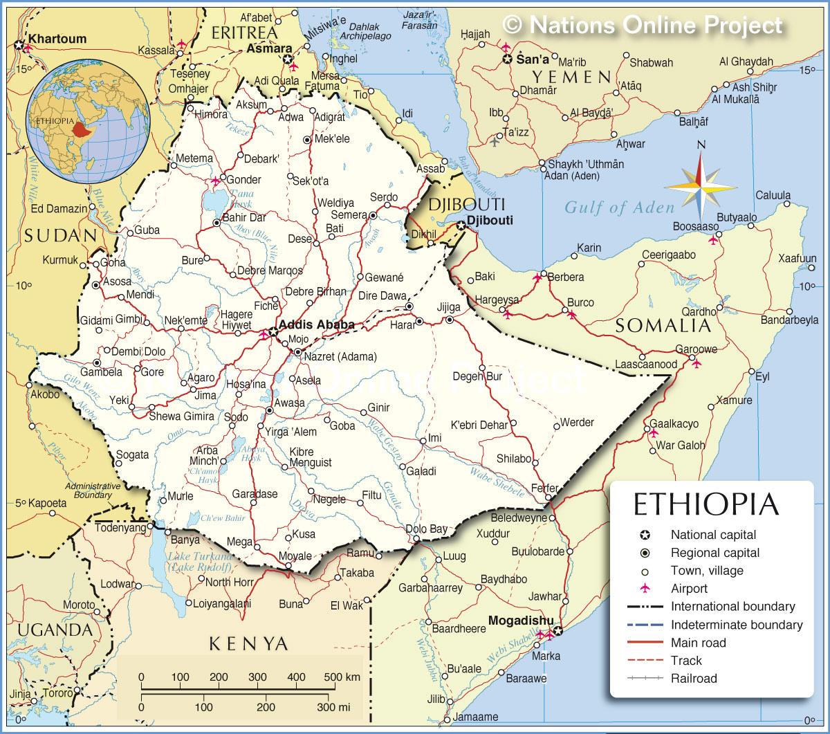 خريطة أثيوبيا التفصيلية
