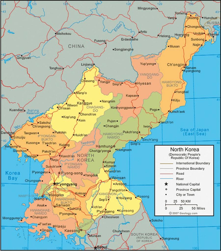 خريطة كوريا الشمالية التفصيلية