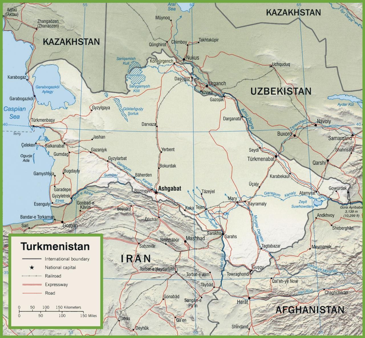 خريطة تركمانستان التفصيلية