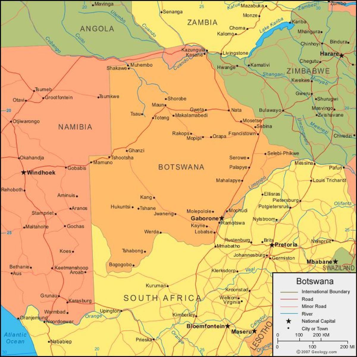 خريطة بوتسوانا التفصيلية