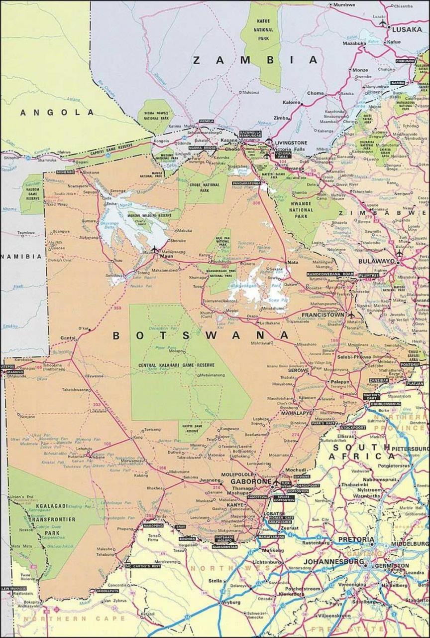 خريطة بوتسوانا الإدارية و الطبيعية