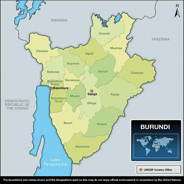 خريطة بوروندي الإقليمية بدقة عالية