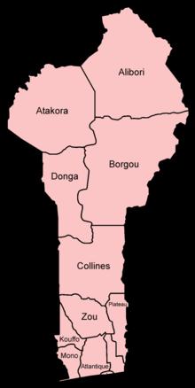 خريطة بنين الإدارية