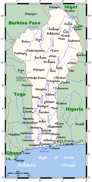 خريطة بنين بالانجليزي