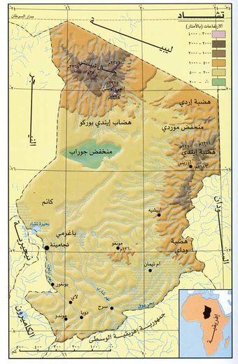 خريطة تشاد الجُغرافية