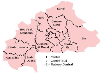 خريطة بوركينا فاسو الإدارية