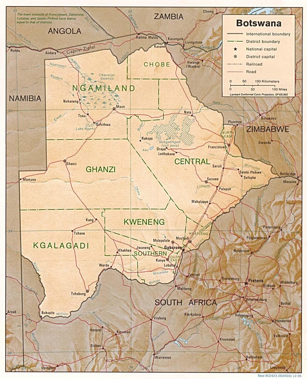 خريطة بوتسوانا الجُغرافية