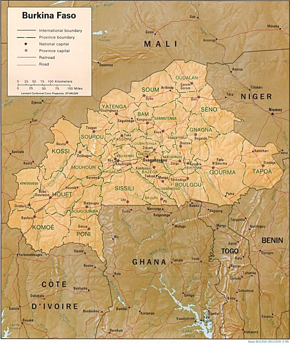 خريطة بوركينا فاسو التفصيلية