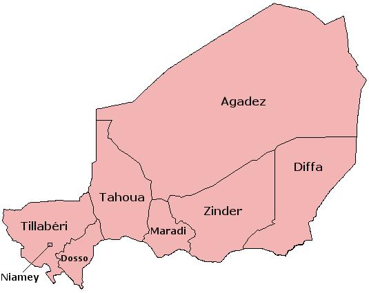 خريطة النيجر الإدارية
