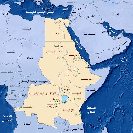 خريطة السودان الأنهار