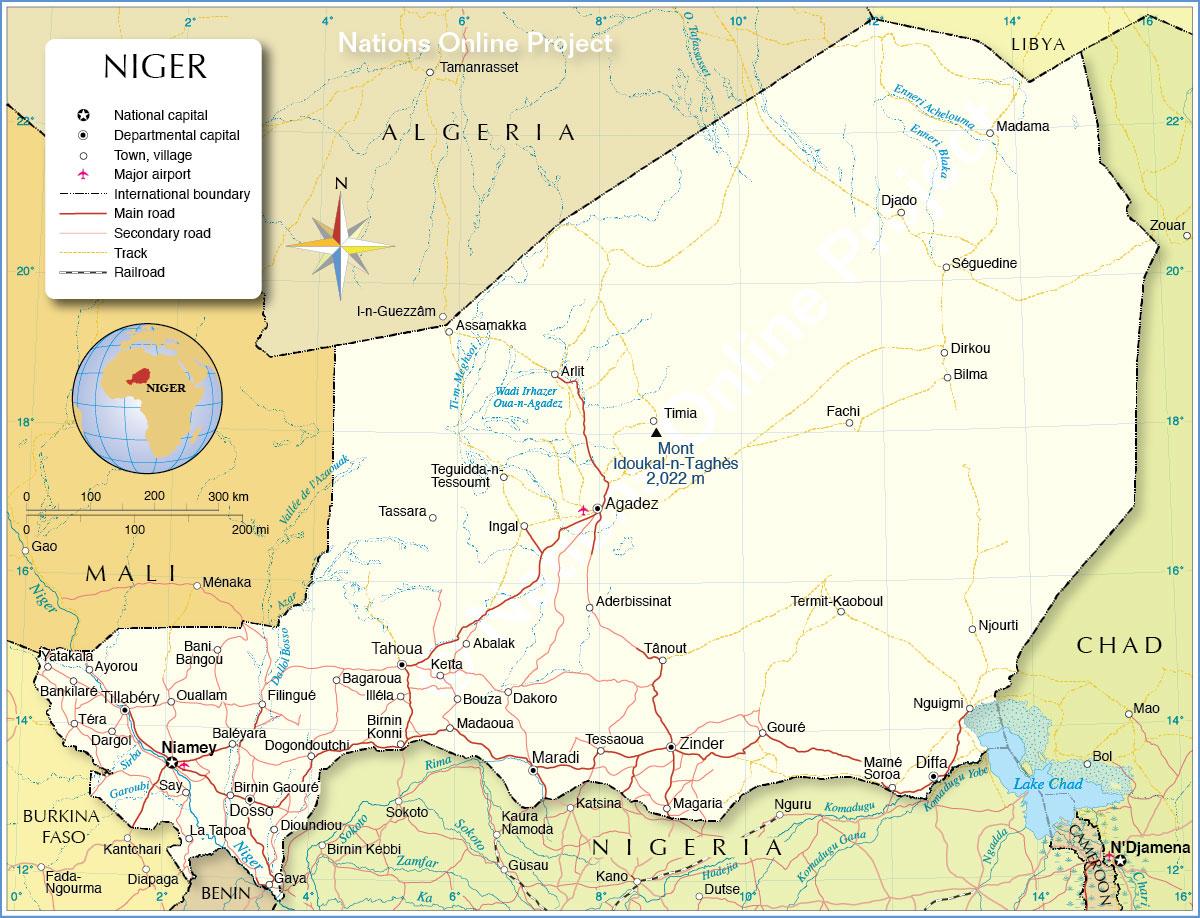 خريطة النيجر السياسية