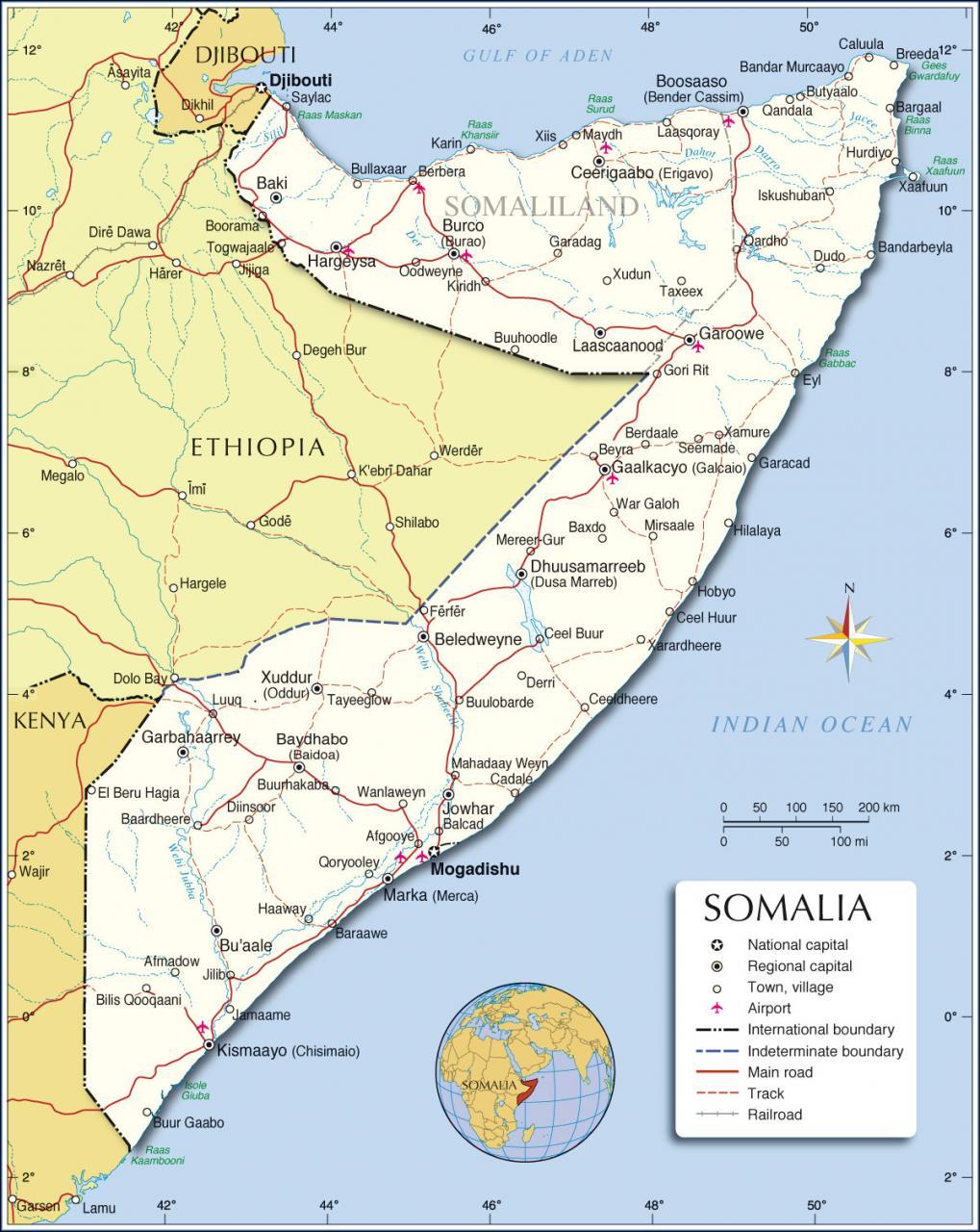 خريطة الصومال التفصيلية
