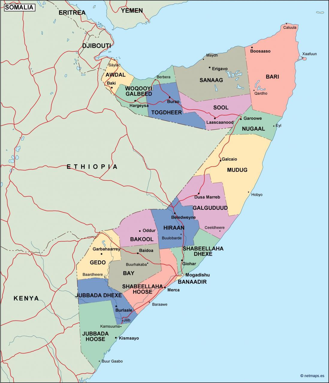 خريطة الصومال بالانجليزي