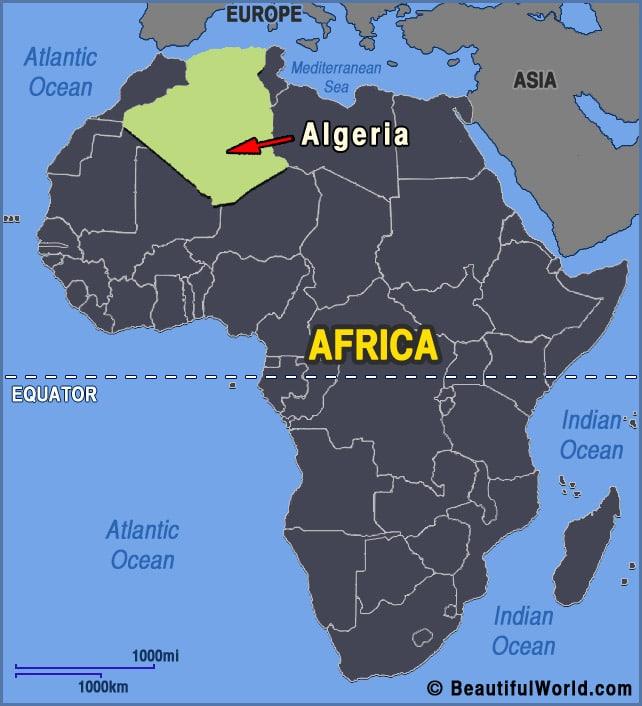 خريطة الجزائر فى افريقيا