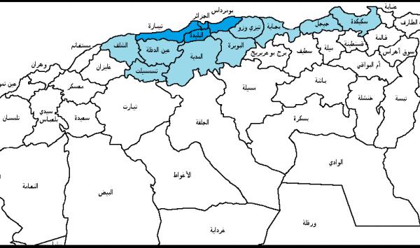 خريطة مدن الجزائر