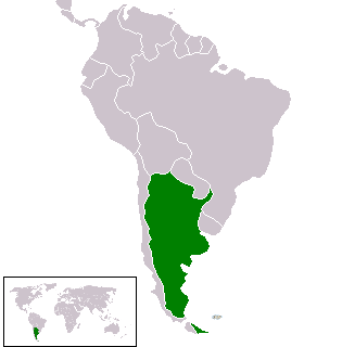 جمهورية الأرجنتين على خريطة أمريثكا اللاتينية